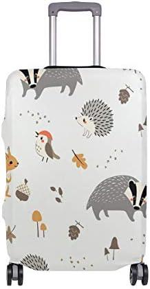 (ソレソレ)スーツケースカバー 防水 伸縮素材 キャリーカバー ラゲッジカバー 栗鼠 ハリネズミ 鳥柄 可愛い かわいい 可愛い おしゃれ 防塵 旅行 出張 便利 S M L XLサイズ