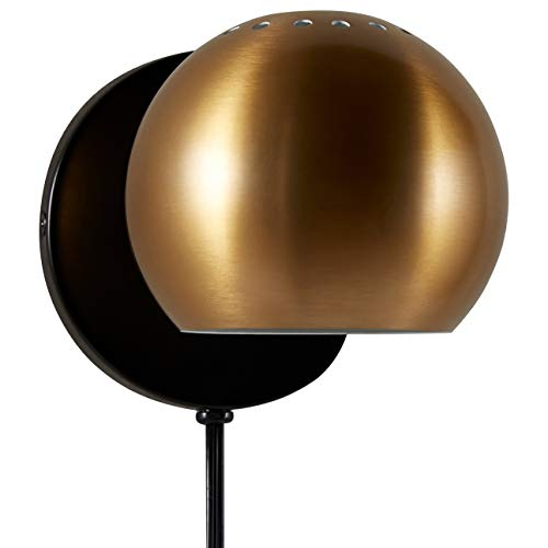 Rivet Mid Century Modern Wall Mounted Sconce Light Fixture Reading Lamp - 5 x 5 x 7 Inches, Gold