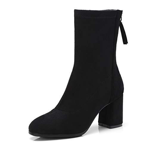 Bottes Bottines Black à Lsm pour Bout Femmes Rond OagdTqW