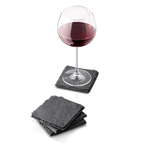 (CLSstar Square Black Slate Coasters with 4 Velvet Backing for Drinks- Home, Kitchen Bar, Restaurant Decor Coasters with Stand - 4 Pack)