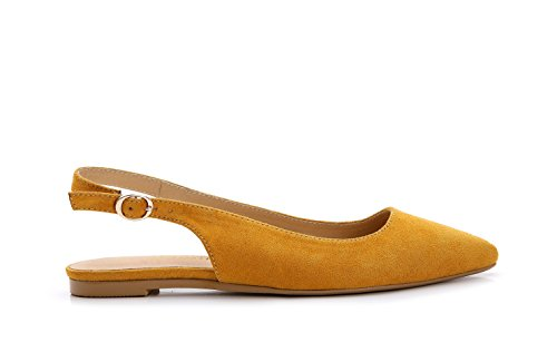 ComeShun Womens Shoes Yellow Buckle Flats Adjustable Slingback Sandals Suede Pumps Size 8 by ComeShun (Image #2)