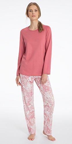 Calida Pajama - Calida Pajamas by Long Sleeve Cotton Knit Full Length in Garnet Ferns (Garnet Rose Ferns, Medium (12-14))