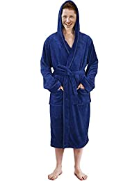 dc68cfdd43 Hooded Bathrobe Mens Luxurious Fleece Shawl Collar Robe