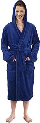 NY Threads Hooded Bathrobe Mens Luxurious Fleece Shawl Collar Robe (Navy, L/XL) ()