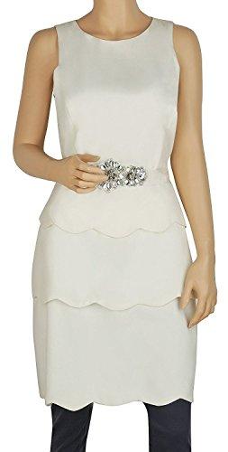 Badgley Mischka Belt - BADGLEY MISCHKA Ivory Sleeveless Tiered Belted Layered Dress (8)