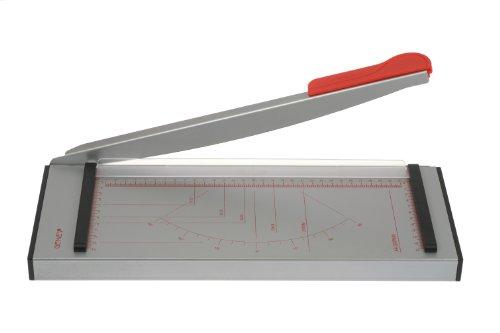 Genie GH 40 Papier-Hebelschneidegerät (geeignet für Formate bis zu DIN A4, 6 Blatt, hochwertige Metall-Arbeitsfläche grader) grau/rot