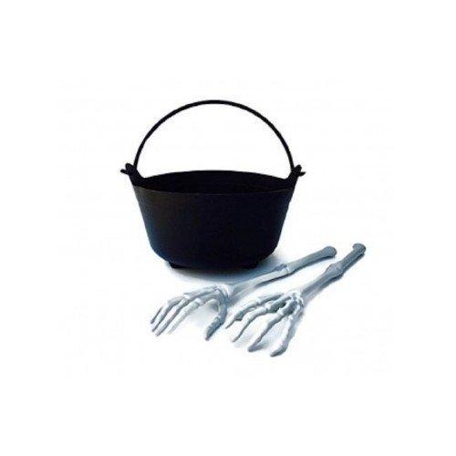Halloween Witch Cauldron Serving Bowl and Skeleton Hand and Arm Tongs Set ~ 3-Piece Set includes One Plastic Witch Cauldron Salad Bowl and One Pair of Skeleton Bones Serving Tongs