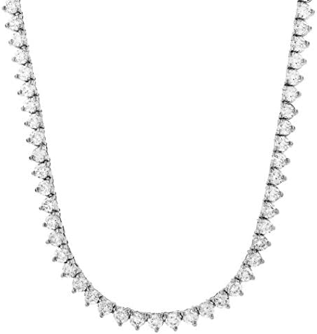 14K Or Plaqué Argent Sterling 925 3 mm 4 mm à 3 Broches Rond Cut Zircone cubique Tennis Collier