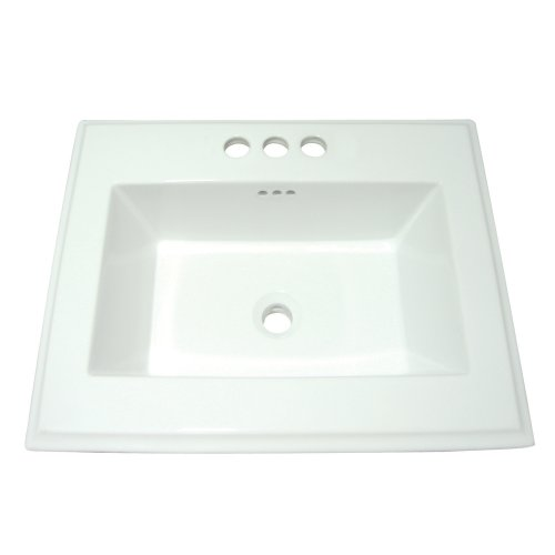Kingston Brass LBT23196W34 Concord Square Vitreous China Countertop Sink with 4-Inch Center Faucet Holes