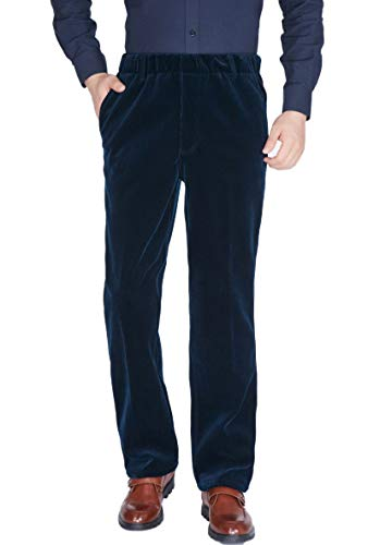 Soojun Senior Men's Fleece Lined Elastic Waist Corduroy Pants, Navy, 32W x - Corduroy Old Pants Navy