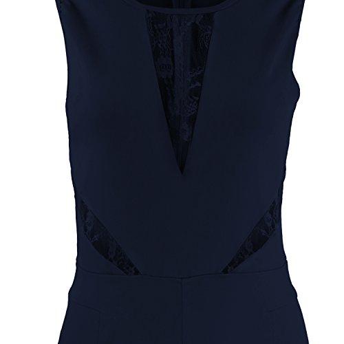 ... Elegant Damen Jumpsuit mit Spitze Lang Hosen Rundhals Ausschnitt  Ärmellos   Kurzarm-Modelle Frauen Overall ... 037bcceb7a