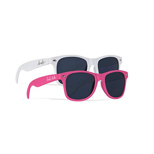 Samantha Margaret 10 Piece Set of Bride Tribe and Bride Sunglasses, Perfect for Bachelorette Parties, Weddings, and Showers! (Neon Pink)]()