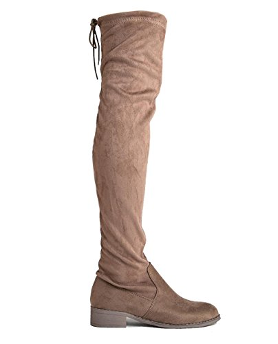 Suede Heel Stretchy J Knee Thigh Boot Comfortable Low Briston Round by Shoe Toe Closed Suede Drawstring Adams Pointy High Over Taupe The SqqwEaZ