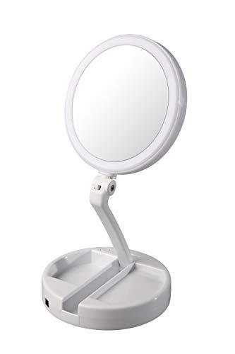 Floxite Dual Sided 12x And 1x Circle Lite Folding Vanity Travel Mirror