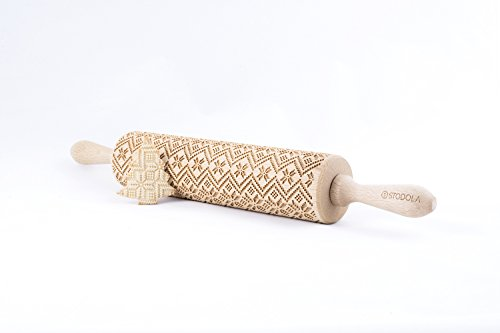 STODOLA Scandinavian Pattern - Engraved rolling pin for Embossed cookies 16.9-inch