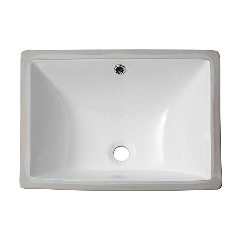 Sarlai S018MP 18.5'' Pure White Rectrangle Undermount Sink Porcelain Ceramic Lavatory Vanity Bathroom Sink ()