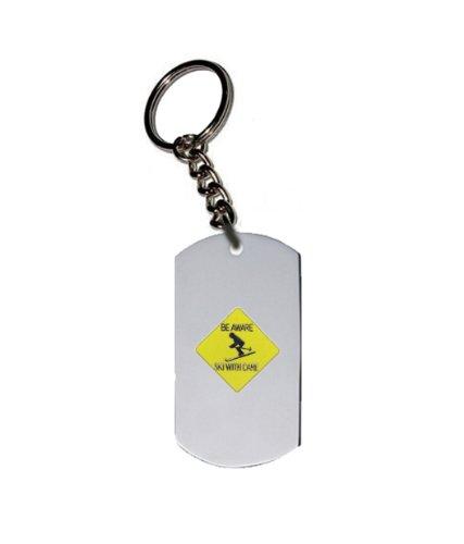 Emblem Key Chain w/ Metal Ring - Sport & Game Emblem - Misc Sports - Beware Ski With Care