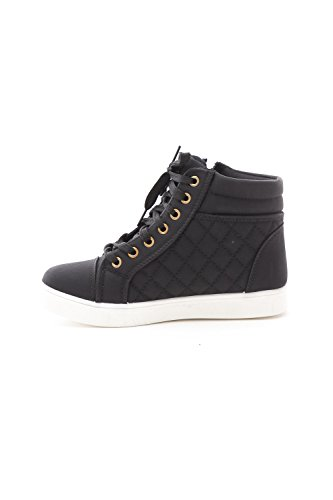 Soho Shoes Womens Leatherette Quilted Zipper Lace Up High Top Sneakers Black/White OExf1iLyM