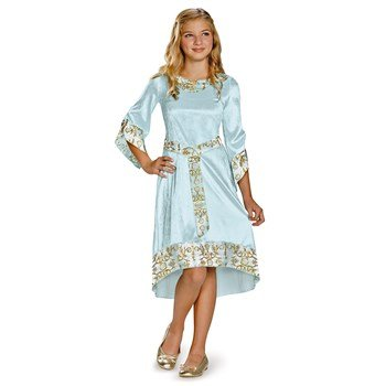Disguise Disney Maleficent Movie Aurora Girls Blue Dress Classic Costume, Large/10-12