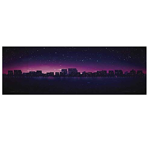 Night Microwave Oven Cover with 2 Storage Bag,City Skyline Silhouette Skyscrapers Abstract Graphic Architecture Urban Life Cover for Kitchen,36