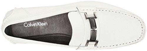 Calvin Klein Mens Magnus Weave Emboss Mocassino Slip-on Bianco