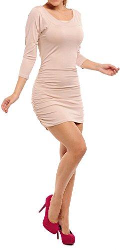 Zeta Ville - Jersey T-shirt camiseta túnica vestido ajustado - para mujer 973z Ecru