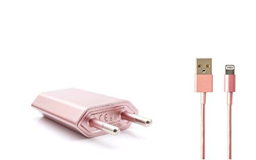 Original iProtect 2in1 SET mit USB Ladekabel / Datenkabel und Netzteil für Apple iPhone SE, 5 5s 5c, iPhone 6, iPhone 6s, 6 Plus, iPod Touch 5G, iPad mini, iPad mini 2, iPad 4, iPad Air, iPad Air 2, iPod Nano 7G in Rose Gold