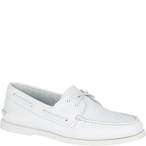 SPERRY Men's A/O 2-Eye Boat Shoe, White, 9.5