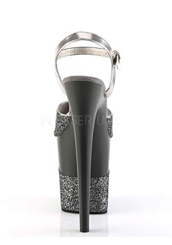 Glitter Pewter pour Pewter Glitter Sandales Femme Pleaser xwpnSYqt