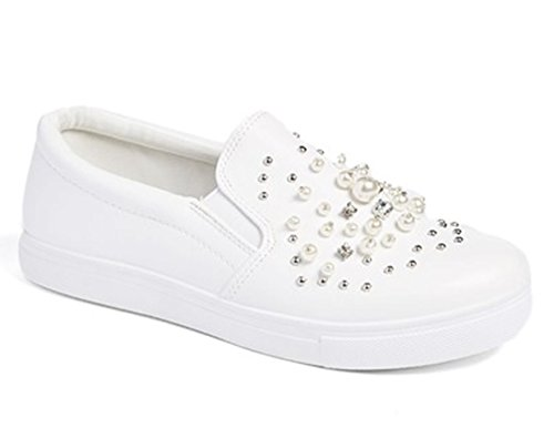 Best Pearl Low Heel White Sneakers for Women Rhinestone Round Toe Slip On Flat Slip Resistant Fancy Designer Casual Modern Sexy Pretty Summer Dress Shoe for Sale Ladies Teen Girl (Designer Womens Designer Shoe)