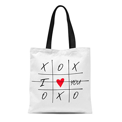 Semtomn Canvas Tote Bag Shoulder Bags Tic Tac Toe Game Criss Cross and I Love Women's Handle Shoulder Tote Shopper Handbag Brown Tic Tac Toe
