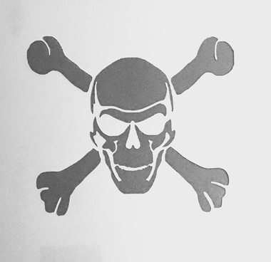 Pirates of the Caribbean Themed Skull and Cross Bone Silhouette Stencil - Custom Prints and Stencils from (Customs Halloween Pirate)