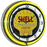 Shell Premium Gasoline, Neon Clock, Bright Double 18 inch Neon