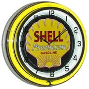 Shell Premium Gasoline, Neon Clock, Bright Double 18 inch Neon by Telstar Neon