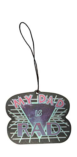 (My Dad is RAD Retro 80's Style Father's Day Engraved Printed Wooden Rear View Mirror Car Charm Dangler )