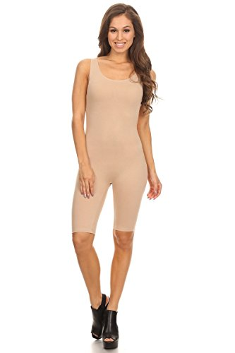 (Women Sleeveless Stretch Skinny Solid Knee Length Sport Unitard Bodysuits Active (Small, Natural))