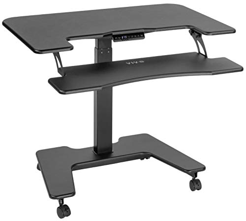 "VIVO Black Electric Mobile Height Adjustable Two Platform Standing Desk with Wheels | Dual Tiered Rolling Small Space Table Workstation 36"" Top (DESK-V111VT) ()"