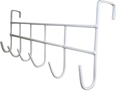 Over The Door Hook, Organizer Rack, Hanging for Coats, Hats, Robes, Towels, 6-Hooks, Vinyl Coated (Neu Home Wall)