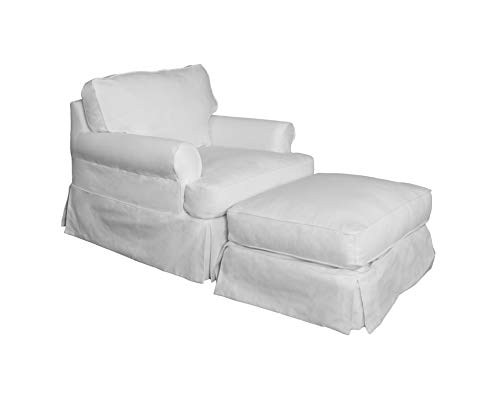 Sunset Trading SU-117620SC-30-391081 Horizon Chair and Ottoman SLIPCOVER ONLY, White