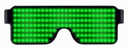 Jiayue LED Glasses,Rechargeable Party LED Glasses Work in 8 Modes for 10 Hours,Nightclubs, Halloween, Birthday Parties, New Year's Party Supplies Carnival.(Green) ()