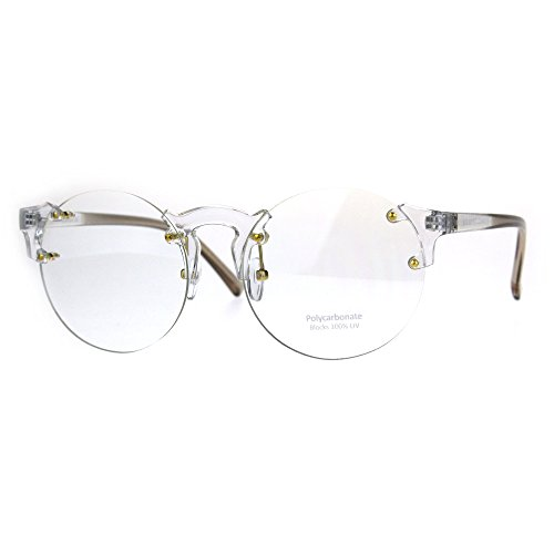 Unique Rimless Round Circle Clear Lens Eye Glasses - Guys Clear Glasses Nerd
