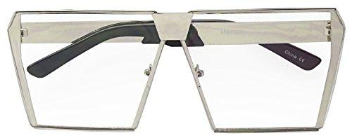 Super Overize Flat-Top Square Semi Rimless Geometric Shield Clear Flat Lens Retro Glasses (Silver Frame | - Ce Shield Side Sunglasses