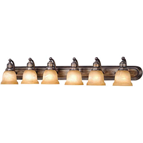 Bathroom Vanity 6 Light Fixtures with Parisian Bronze Finish Steel Material Medium 48