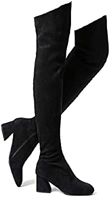 Amazon.com | Shoe'N Tale Women Stretch Suede Chunky Heel Thigh High Over  The Knee Boots | Over-the-Knee