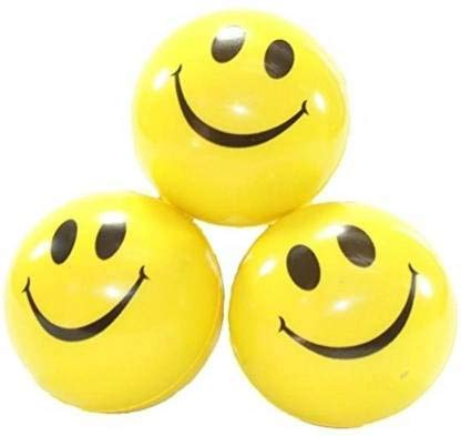 NAKSH Rubber Smile Freaks Smiley Face Squeeze Stress Ball   3 inch  Yellow, Black    3 Pieces
