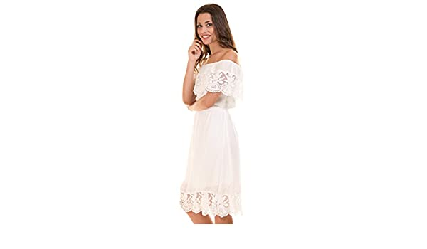 Vila Vestido Corto ibicenco Blanco Clothes (S - Blanco): Amazon.es ...