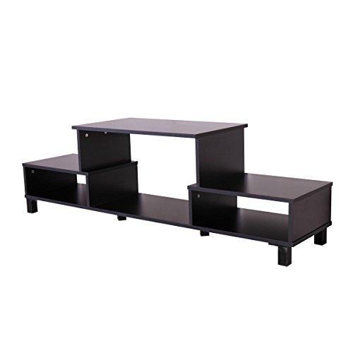 Espresso Plasma Tv Stand (Modern Wood TV Stand Console with Storage Shelf, Home Furniture In Black)