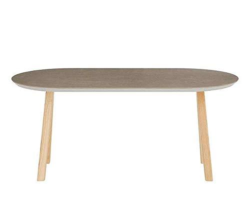 Ashley Oval - Mesa de centro 70x33 h.40,2 cm, tablero de ceramica Cendre, patas de fresno natural. Made in Italy.