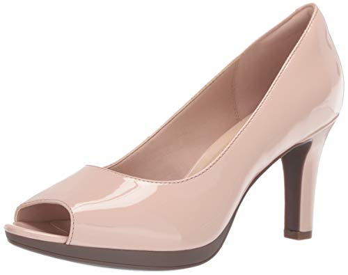 CLARKS Women's Adriel Phyliss Pump Cream Patent Synthetic 7 Medium US