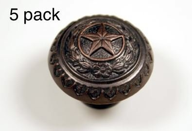 TEXAS STATE SEAL KNOB ORB WESTERN CABINET HARDWARE DRAWER PULLS STAR KNOBS  (5)